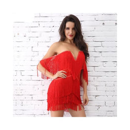Off Shoulder Tassels Embellished Mini Fringe Dress Clothing Clothing_dresses display-limited fringe bandage backless dress 1