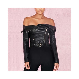 Off The Shoulder Faux Leather Jacket Clothing display-limited multi-buy-prompt Price_Above 50 3