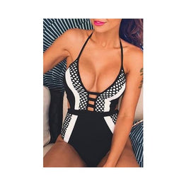 One Piece Deep V Sexy Backless Strap Swimwear Clothing Clothing_dresses Clothing_swimwear display-limited Dress Swim Set 1
