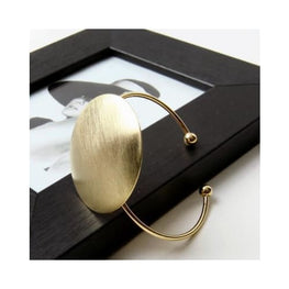 Open Brushed Big Round Cuff Bangle bangle brushed display-limited geometric gold Bangles 1