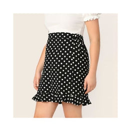 Plus Ruffle Hem Polka Dot Skinny Stretchy Pencil Skirts display-limited polka dot multi-buy-prompt pencil skirt plus size 1