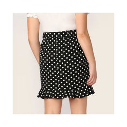 Plus Ruffle Hem Polka Dot Skinny Stretchy Pencil Skirts display-limited polka dot multi-buy-prompt pencil skirt plus size 6