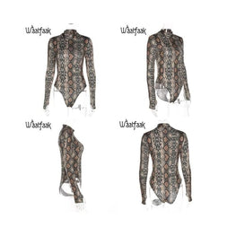 Snake Print Turtleneck Long Sleeve Bodysuit bodysuit Clothing Clothing_bodysuits Clothing_jumpsuits display-limited Jumpsuit 13