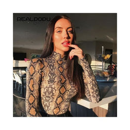 Snake Print Turtleneck Long Sleeve Bodysuit bodysuit Clothing Clothing_bodysuits Clothing_jumpsuits display-limited Jumpsuit 1