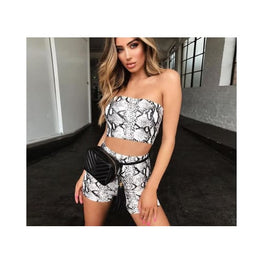 Snakeskin 2 Piece Set Crop Top + Shorts piece animal print Clothing_animal-print Tops display-limited 1