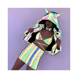 Two Piece Holographic Beach Bodycon Set Foreverfly co-ords - display-limited - festival - Festival Season - holographic beach bodycon