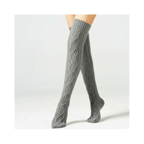Warm Over Knee Knit Stockings Socks