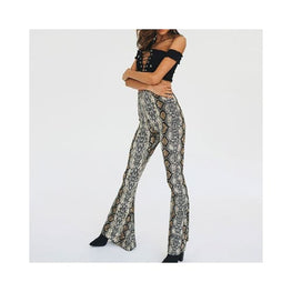 Wide Leg Snake Skin Print Flare Pants Foreverfly Store animal print - bottoms - Clothing_animal-print - display-limited - multi-buy-prompt