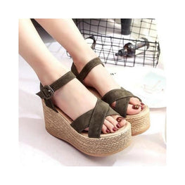 Women's Buckle Wedge Sandals Foreverfly buckle wedges - display-limited - flock fish mouth - multi-buy-prompt - Open toes