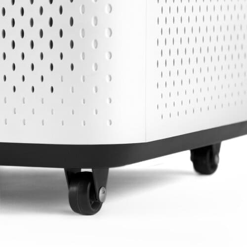 Wheeled Design   Slide your air purifier easily from room to room with its rolling base.