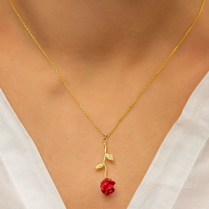 Red Rose Pendant Necklace for girlfriend Valentines Day gift
