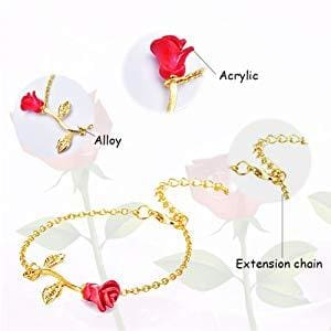 Gift for girlfriend Red Rose Bracelet for Valentines Day