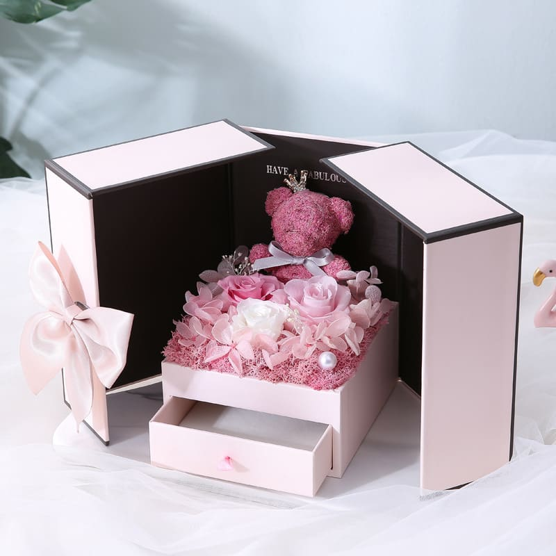 2020 Valentines Day gift teddy bear rose two door gift box