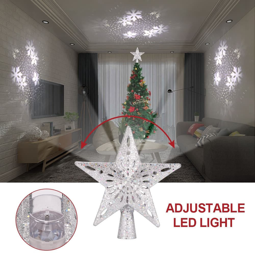Christmas Tree Top Halloween Projector Light Star Shape LED Snowstorm Snowman Stripe RGB Projector Lights Xmas Party Decoration