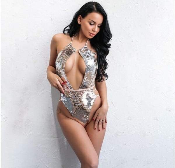 One Piece Sequin Swimsuit