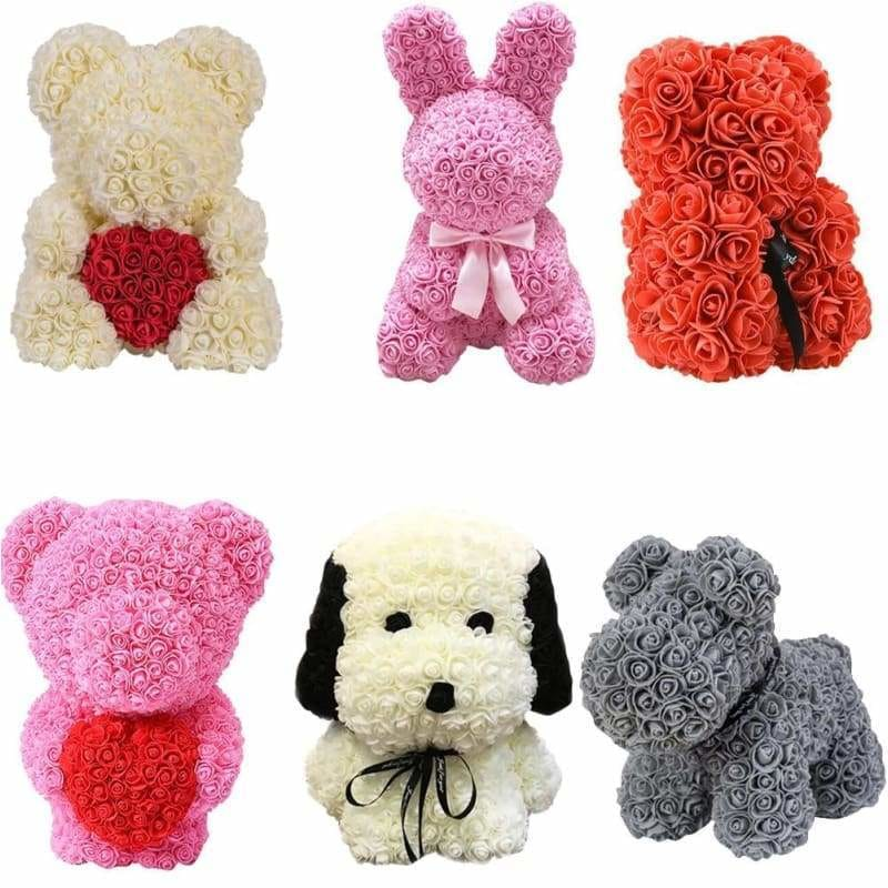 Valentines Day Gift - Forever Lasting Rose Bear Bunny & Dog birthday gifts for her uk presents 2019 creative girlfriend display-limited faux