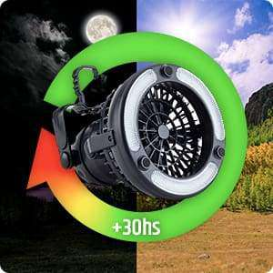 2IN1 Portable LED with Ceiling Fan 18 LED Flashlight Fan for Outdoor Hiking