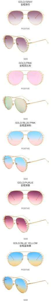 Personality Pearl Sunglasses Women Fashion Sunglasses Driving Sunglasses Ocean Sheet Glasses