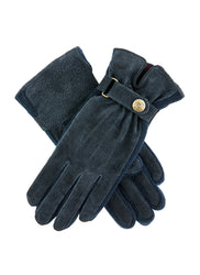 Dents Laura Suede & Knitted Gloves Navy