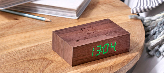 Gingko Click Alarm Clock Walnut