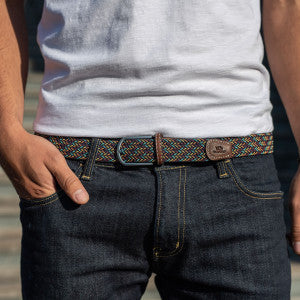 Billybelt Woven Elastic Belt - Multi Colour Fine Herringbone