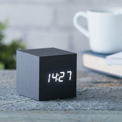 Gingko Cube Click Clock Black