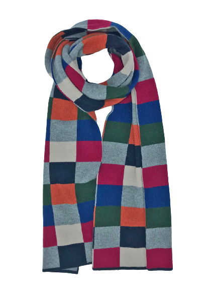 Lambswool Mix Medium Checkerboard Scarf - Blue/Green