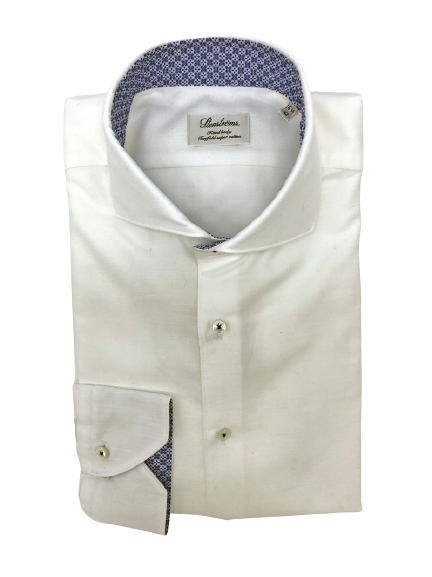 Stenstroms White Shirt with Contrast Collar and Cuff Details
