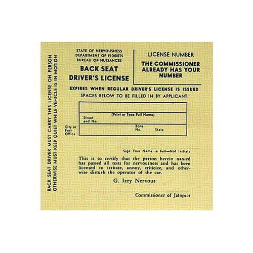 Back Seat Drivers License by DRobbins - Shop GagWorks.com