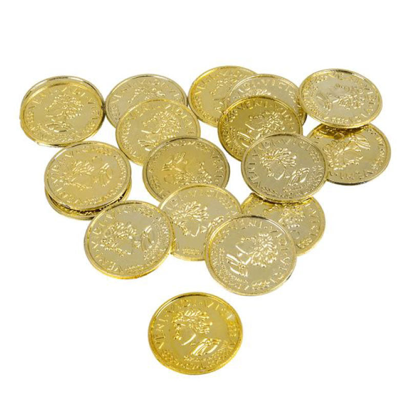 Gold Coins - Bag of 144 plastic pieces by Rinco - Shop GagWorks.com