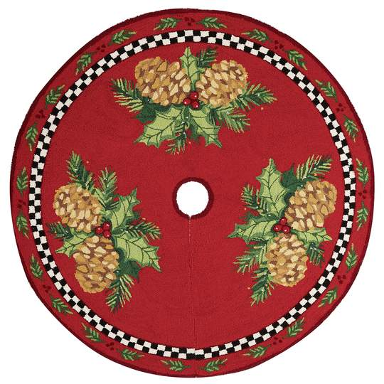 Pinecone Check Hook Tree Skirt