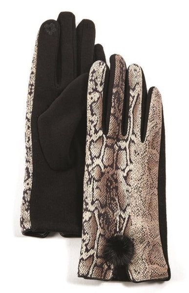 Nautral Python Print Ultra Suede Gloves