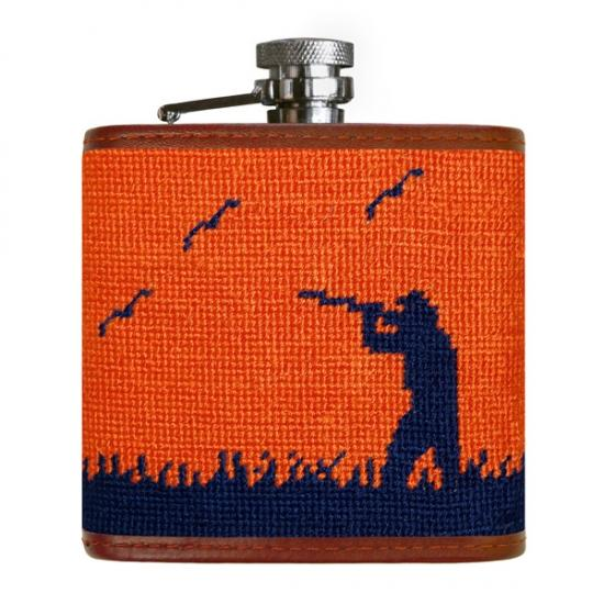 Bird Hunter Needlepoint Flask