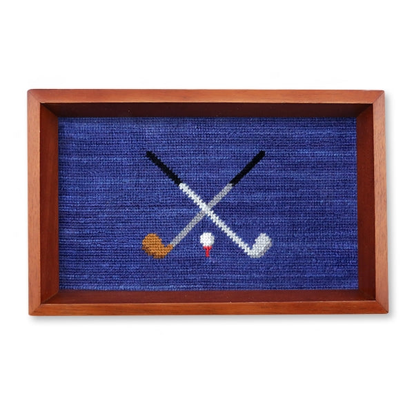 Crossed Clubs Needlepoint Valet Tray