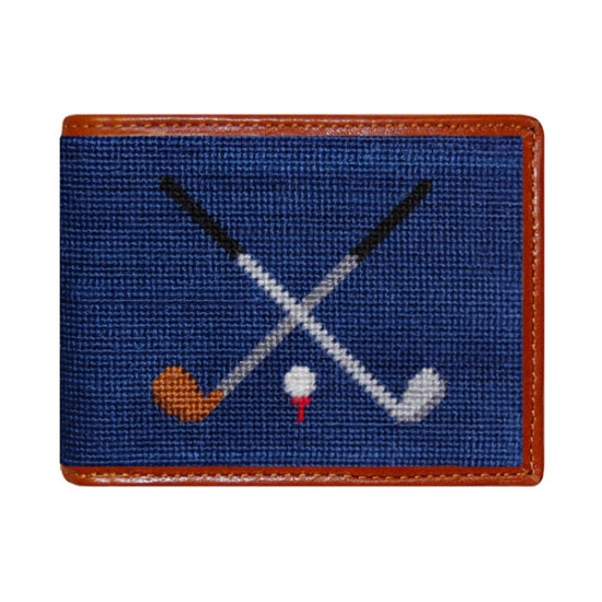 Crossed Clubs Needlepoint Wallet