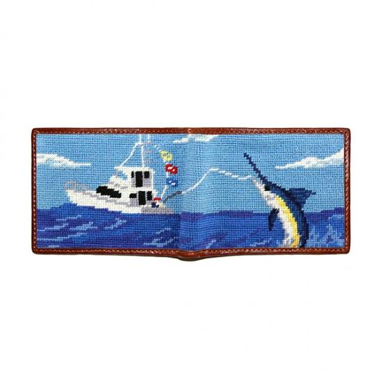 Offshore Fishing Needlepoint Wallet