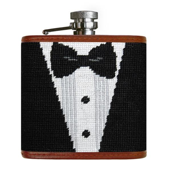 Black Tie Needlepoint Flask