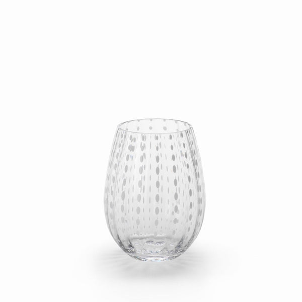 White Dot Stemless Wine Glass
