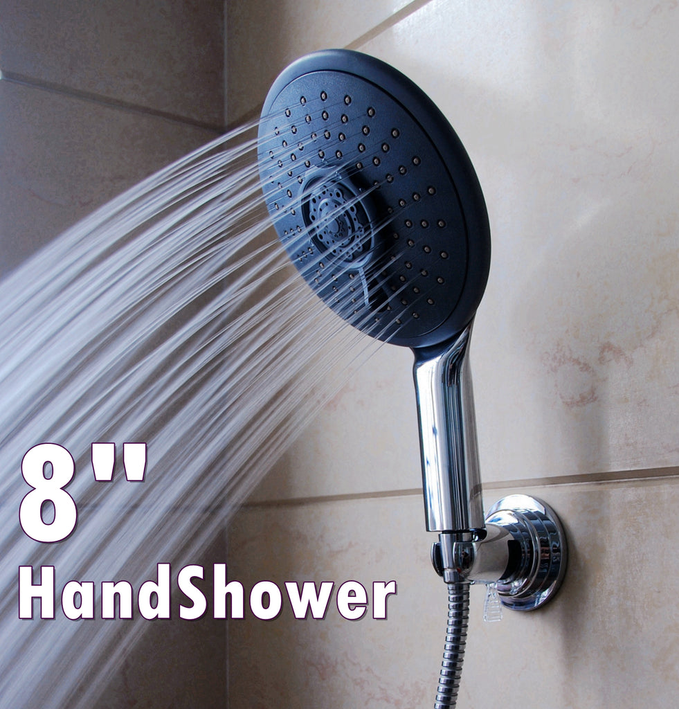 8 Inches Wide Handheld High Pressure Shower Head with Extra Long 6 ...