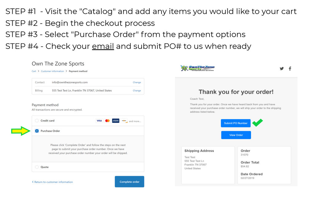 Own The Zone Sports - Pay with a Purchase Order (PO#)