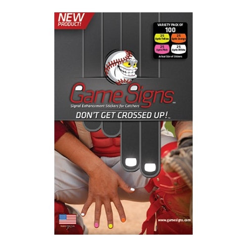 Game Signs - Catcher Stickers are easy to use, easy to remove and durable enough to withstand the roughest of games - As seen at the MLB and NCAA levels
