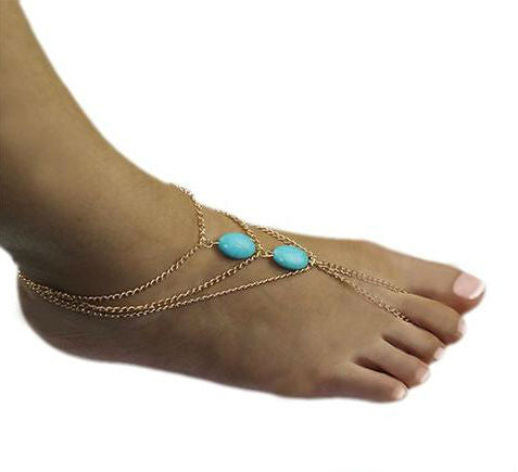 Blue Haze Beaded Ankle Bracelet