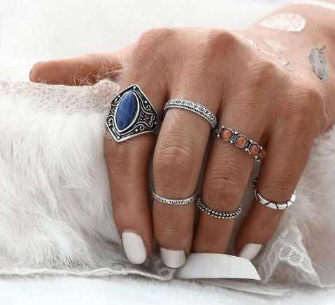 Boho Mia Vintage 6 piece ring set
