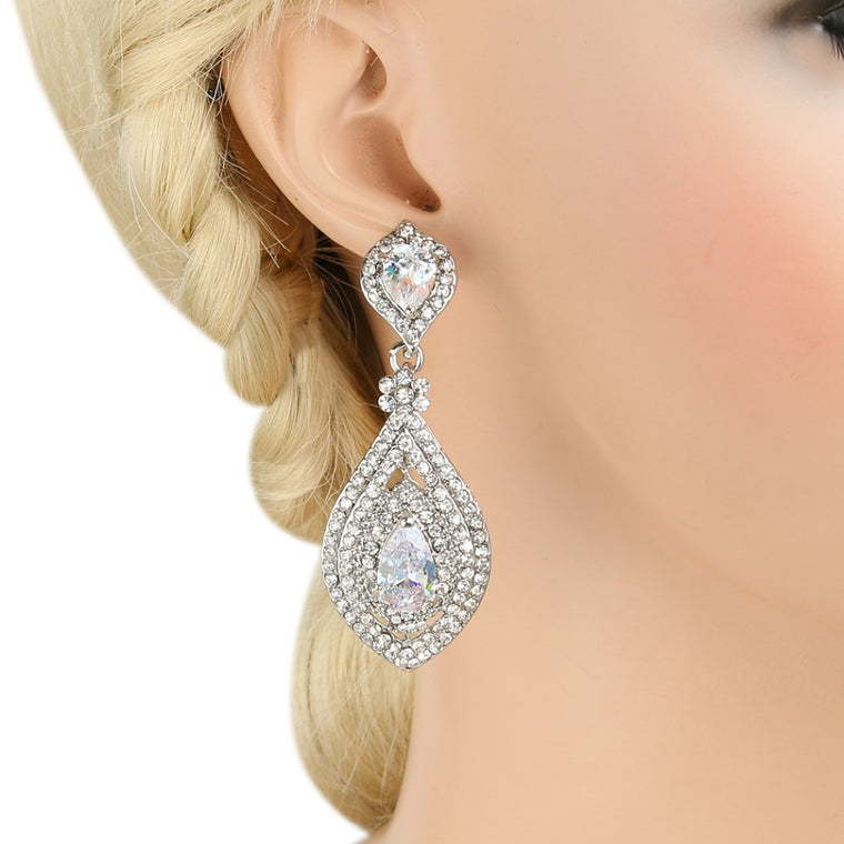 Bejeweled Austrian Crystal Dangle Earrings