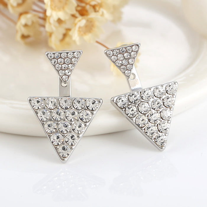 Bold and Unconfined Rhinestone Triangle Earrings