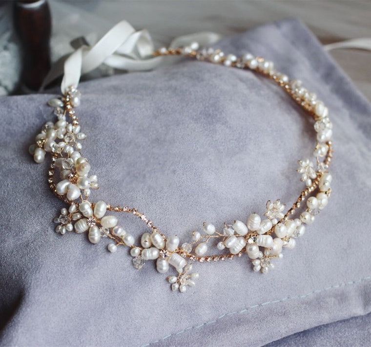 Oh So Lovely Stunning Freshwater Pearls Jewelry Headband