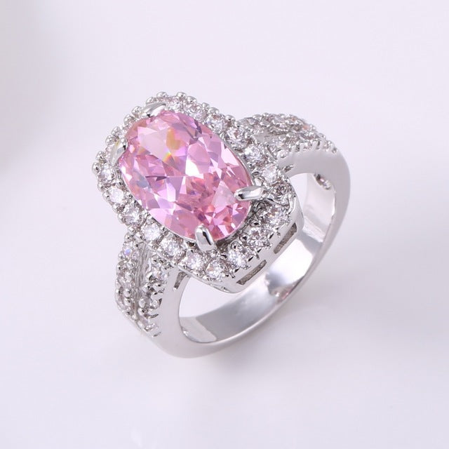 My Elegant Lady Sparkling Rectangle Statement Ring