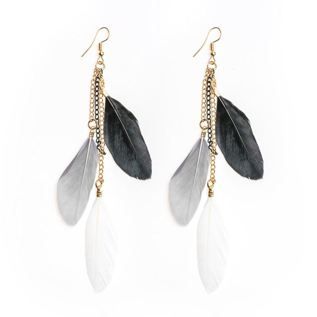 Pretty Sunset Classic Feather Earrings