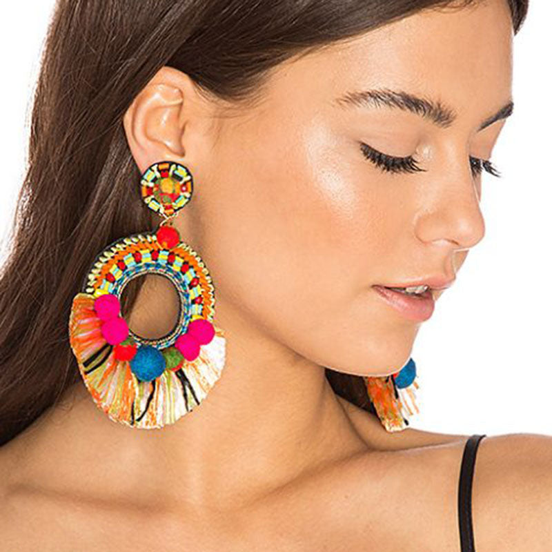 Center of Attention Multicolored Earrings