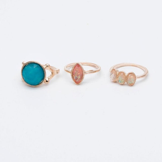 Charmed For You 3 piece Colorful Opal Rings